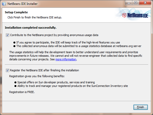 NetBeans installation complete