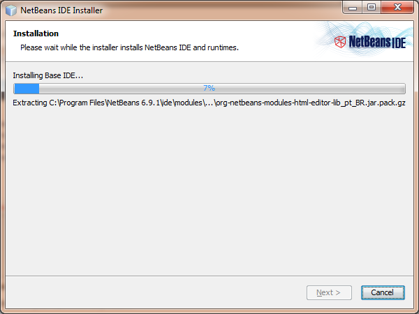 NetBeans installation progress