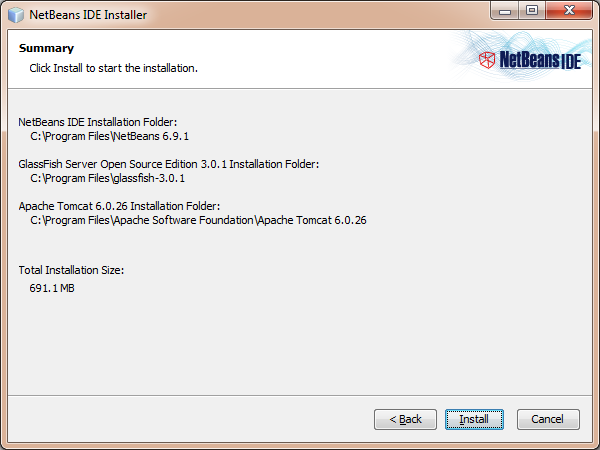 NetBeans intallation summary