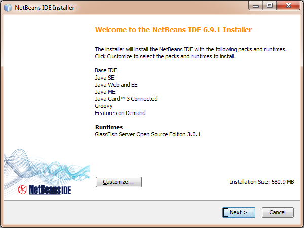 NetBeans installer Welcome screen