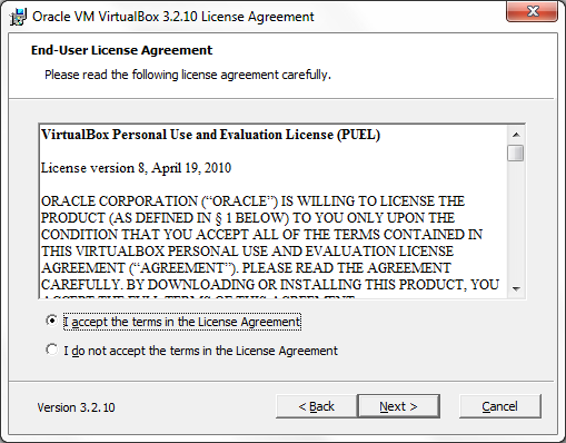 VirtualBox License Agreement