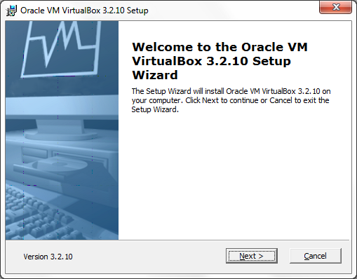 VirtualBox Welcome screen