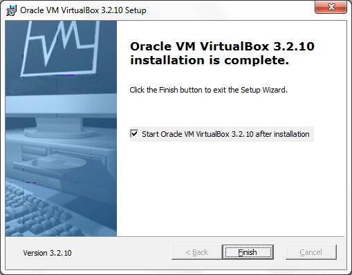 VirtualBox installation complete