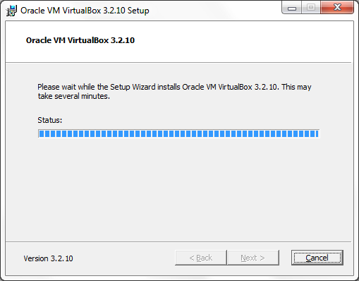 VirtualBox installation progress