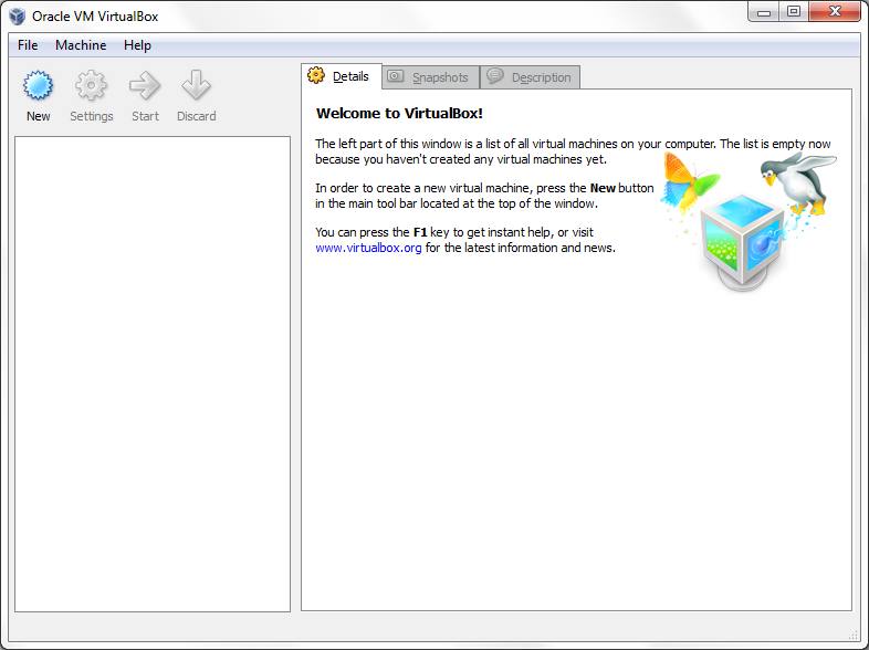 VirtualBox Main window