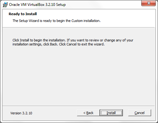 VirtualBox ready to start installation