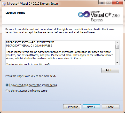 Visual Studio Express License terms