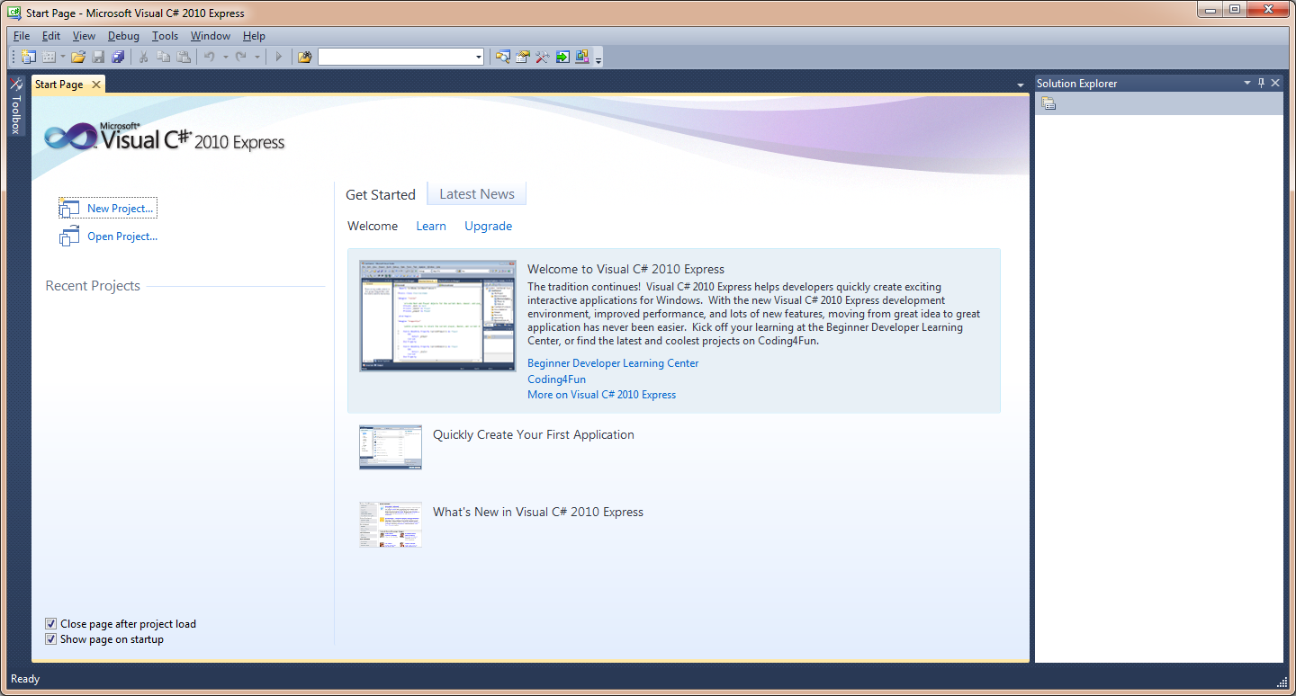 Visual Studio Express Start Page
