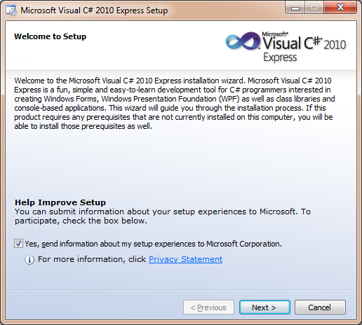 Visual Studio Express Welcome screen