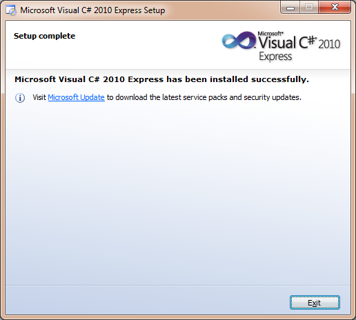 Visual Studio Express installation complete