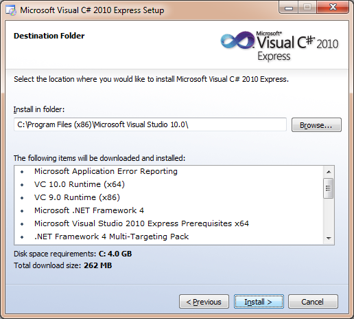 Visual Studio Express installation folder