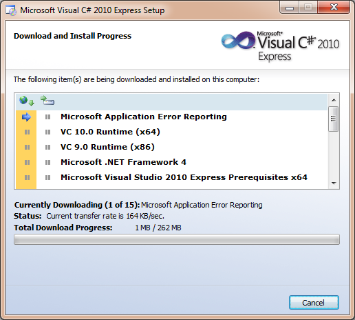 Progreso de la instalacion de Visual Studio Express