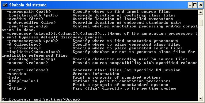 Opciones de javac para la linea de comandos