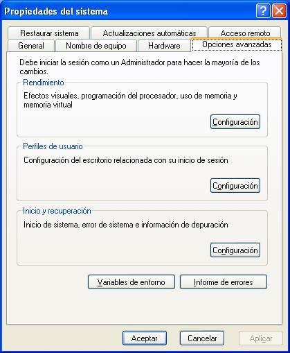 Propiedades del sistema en Windows
