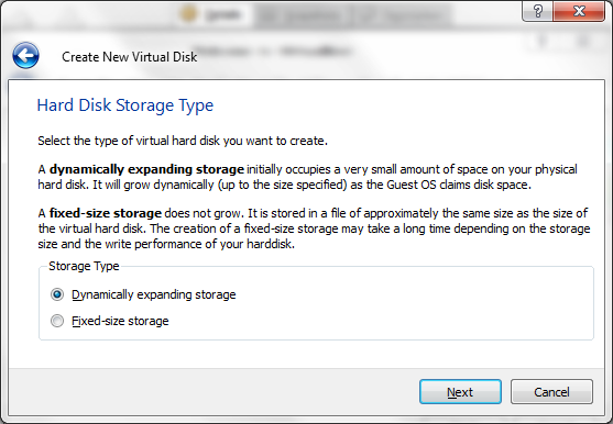 Virtual hard drive Storage type