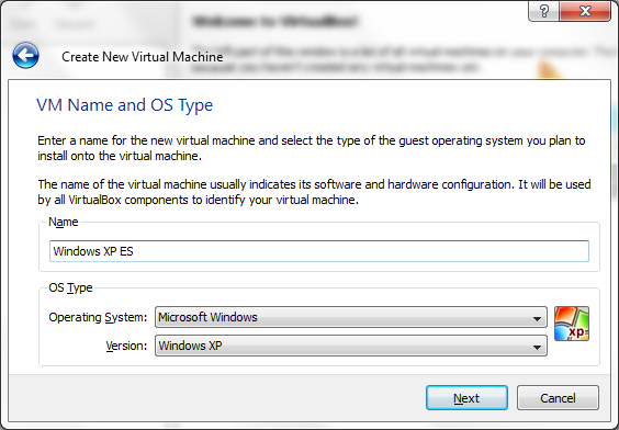 Virtual Machine name and OS type